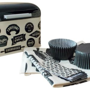 Bakeshop Bakery Box Bundle with Cupcake Liners, Dough Whisk and matching Tea Towel