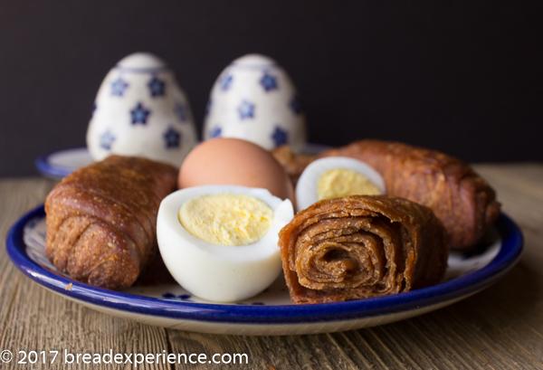 Jachnun with boiled eggs