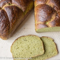 Braided Sourdough Spinach Loaves with Matcha Tea Powder