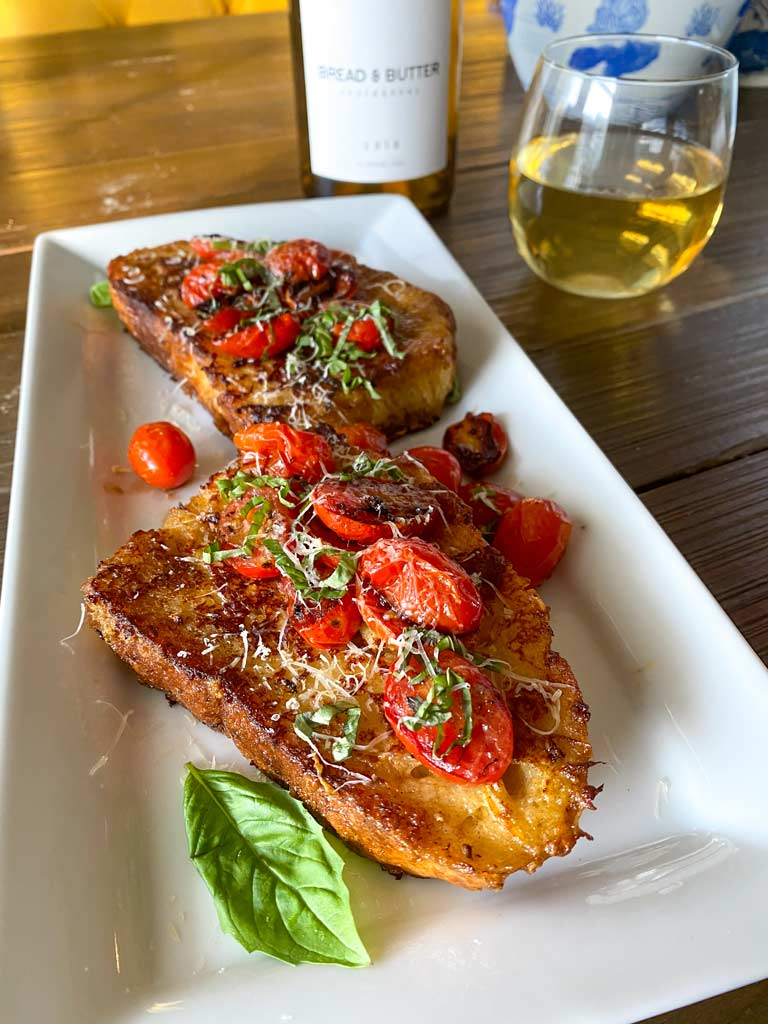 Gruyere-crusted Savory French Toast with Tomatoes recipe
