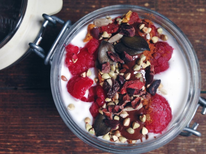 Homemade coconut yogurt parfait