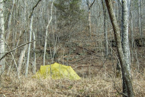 Camping in Mary Hollow - The color of the tent blends in quite well. Copyright © 2011 Gary Allman, all rights reserved.