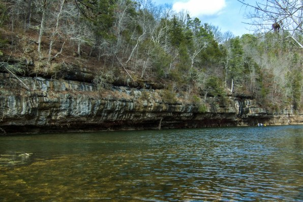 Bluffs on the North Fork River - We watched one Jon boat and a canoe go down the river - four people, the only people we'd seen so far. Copyright © 2011 Gary Allman, all rights reserved.