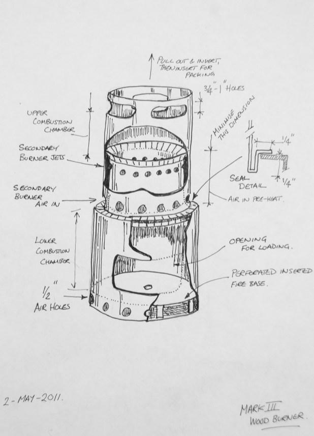 Up-draft gassifier backpacking wood burner