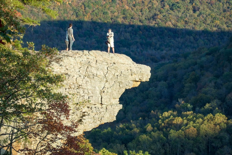 Gary on Hawksbill Crag (Whittaker Point), Arkansas - Not taken by me - there's no way I could have set the timer and run around onto the crag in 10 seconds! Copyright © 2011 Kirby Newport, all rights reserved.