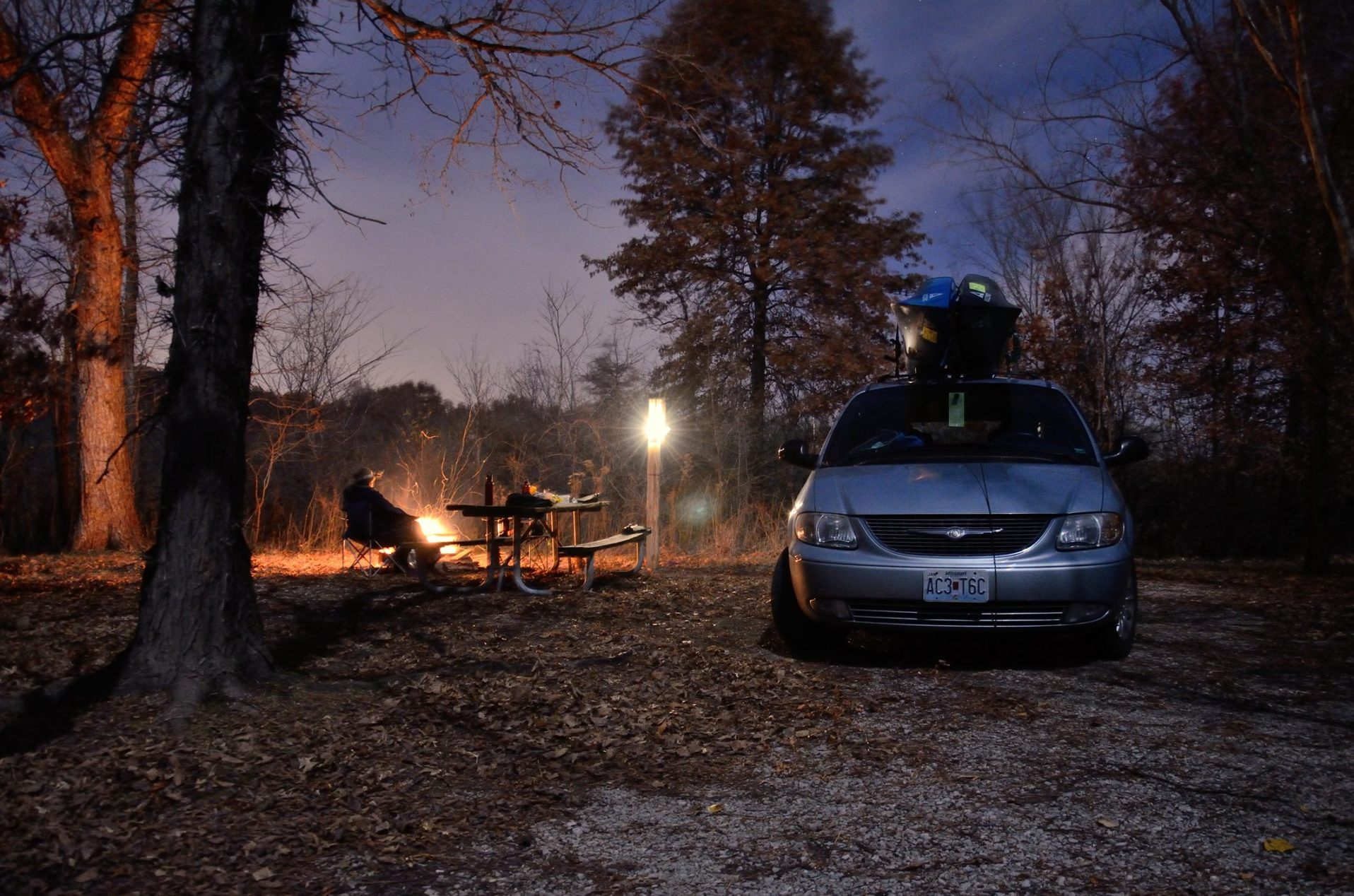 Bucksaw campsite in the moonlight. Copyright © 2011 Gary Allman, all rights reserved.