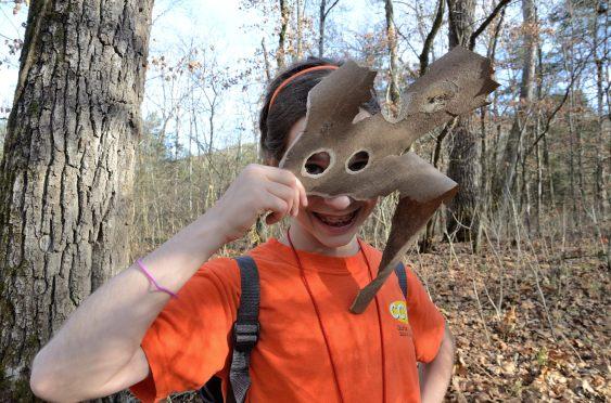 Lanie finds a tree bark mask - Piney