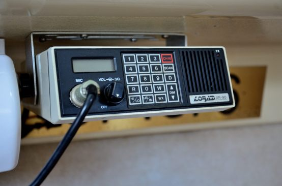 And a VHF Marine radio - the aerial is loose in the cabin instead of connected to the mast.