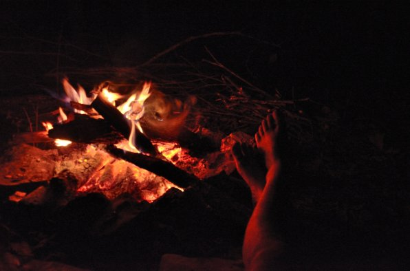 New Year's Eve - toasting tootsies by an open fire. Copyright © 2011 Gary Allman, all rights reserved.