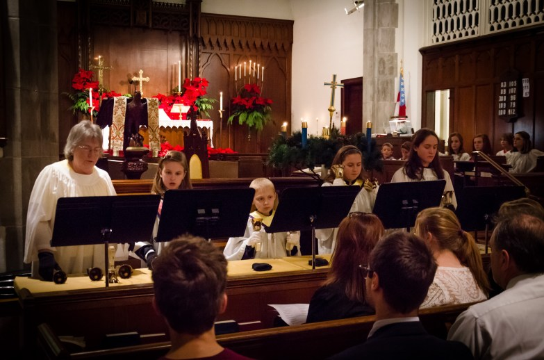 Bell choir (I had to change position when I realized one of the smaller members of the choir couldn't be seen). Copyright © 2014 Gary Allman, all rights reserved.