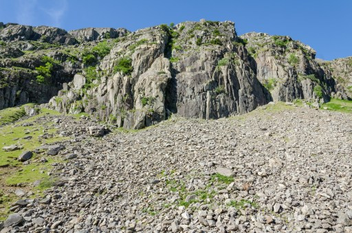 Scree and rocks. I can see eight climbers..