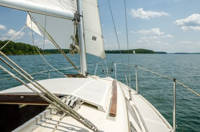 It seemed a lot slower going down-wind but we were back at the marina before we knew it.