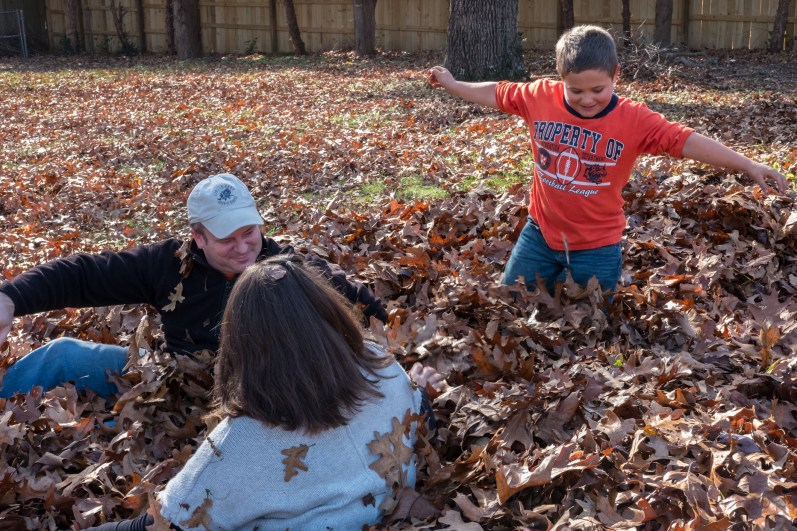 Thanksgiving 2016 - Fun in the leaves