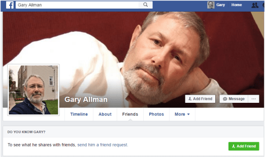 Facebook Profile for a Faux Gary Allman