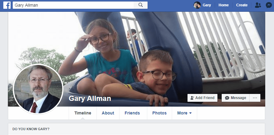 Facebook Romance scam account featuring a picture of Gary Allman and two unknown children.