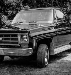 black and white photograph of a short wheelbase 400 block 1978 chevrolet scottsdale [ 2500 x 1406 Pixel ]