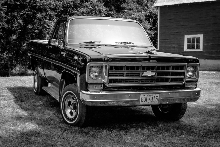 "Black and white photograph of a short wheelbase, 400"" block, 1978 Chevrolet Scottsdale Pickup"