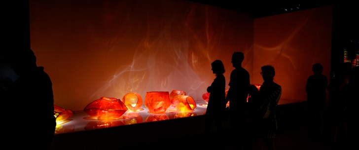 Photograph of Fire Orange Baskets. Artist: Dale Chihuly. Chihuly in the Forest. Crystal Bridges Museum of American Art.