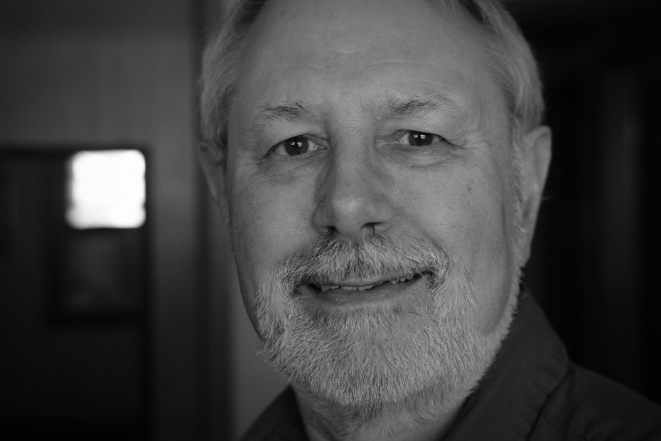 A black and white photograph of Gary Allman, Springfield Missouri