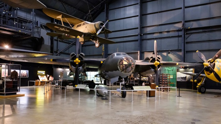 Martin B-26G Marauder with Beech UC-43 Traveler (above) at the National Museum of the US Air Force.