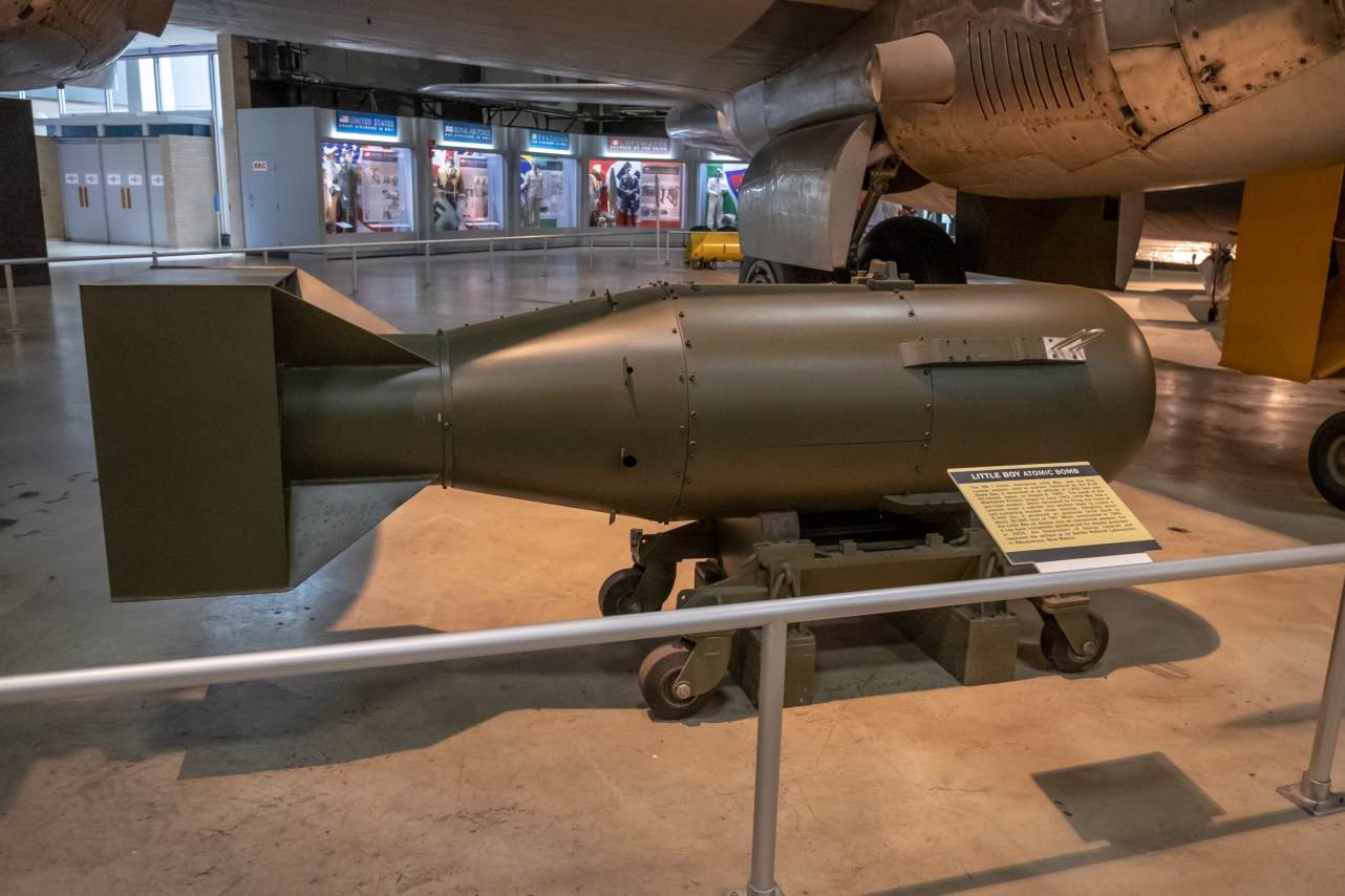 Little Boy Atom Bomb at the National Museum of the US Air Force. Not a dummy model. This is a decommisioned atom bomb. That gives you pause for thought.