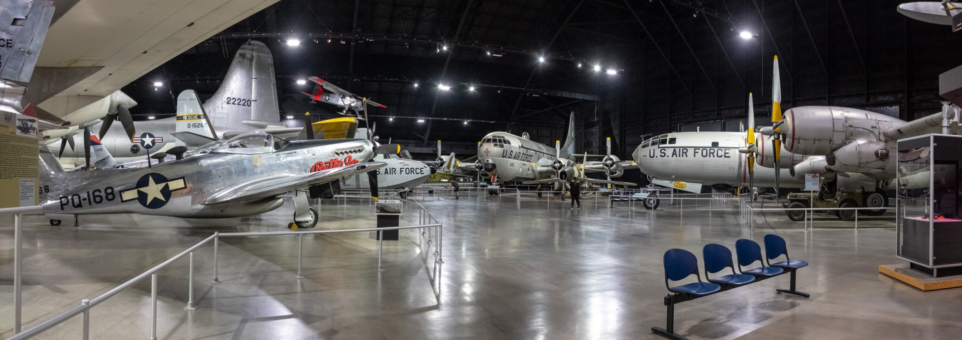 Lots of 'planes at the National Museum of the US Air Force. Center frame: Boeing KC-97L Stratofreighter. Right: Boeing WB-50D Superfortress. Copyright © 2018 Gary Allman, all rights reserved.