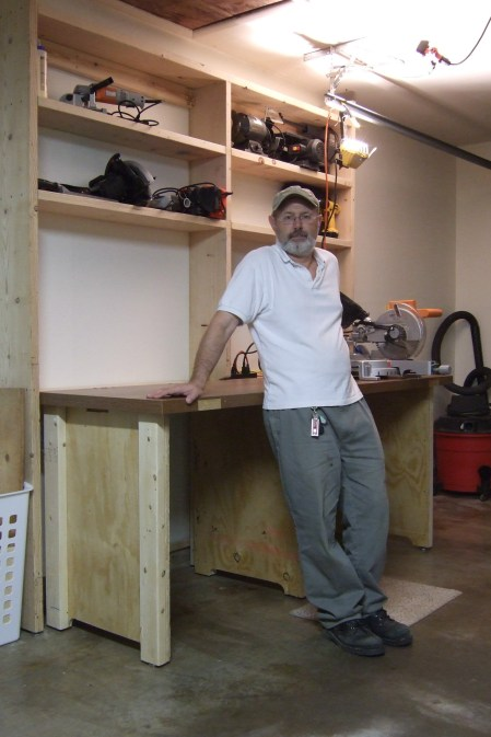 Gary and the almost completed workbench. Copyright © 2009 Gary Allman, all rights reserved.