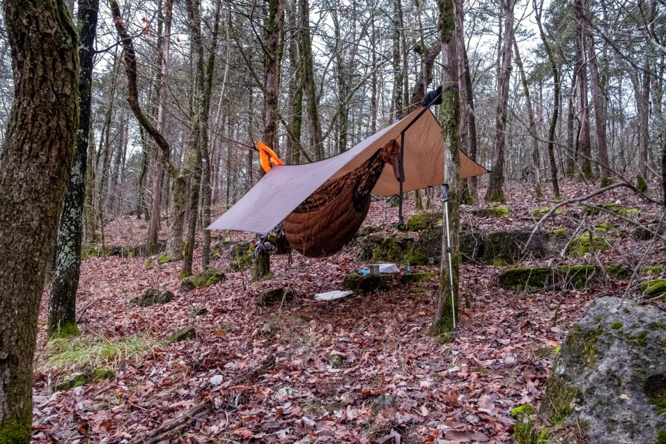 Camped near 'Twin Falls' Hercules Glades Wilderness - It was only after I finished taking my pictures that I realized that I had set the tarp the wrong way up. Copyright © 2019 Gary Allman, all rights reserved.