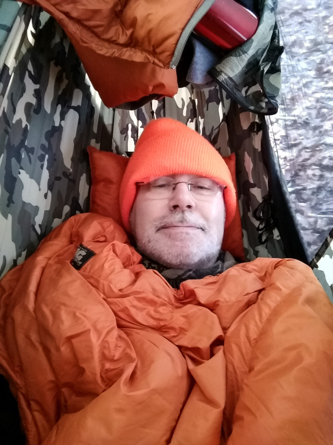 Snug in my hammock - it only dropped to 33°F (.5°C) overnight, so I was warm. Too hot at one point. Copyright © 2019 Gary Allman, all rights reserved.