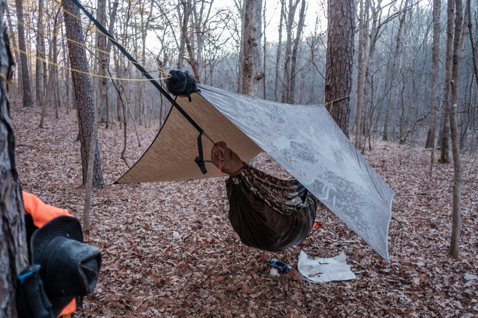 Frosty Morning at Paddy Creek Wilderness - Eight o'clock and the sun hasn't reach my hammock yet. Paddy Creek Wilderness Day Two. November 2020. Copyright © 2020 Gary Allman, all rights reserved.