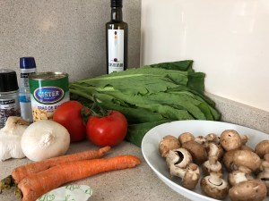 Image of Ingredients for Mushroom, Greens, and Chickpea Soup