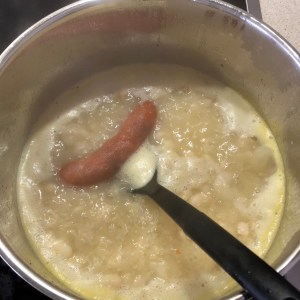Image of Broth with Sausage Added