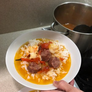Image of Serving Shrimp and Chouriça Soup with Rice
