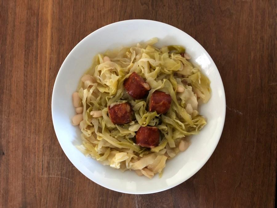 Quick Sauerkraut, White Beans, and Chouriço