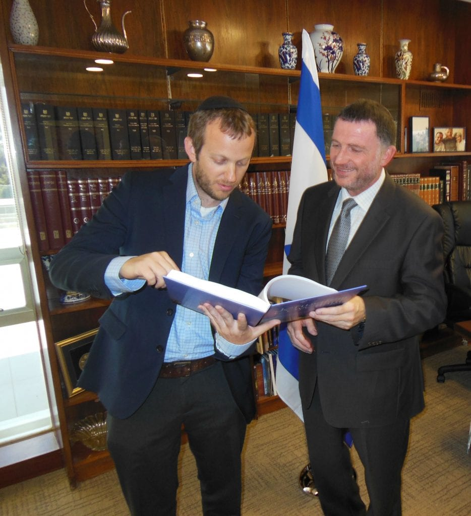Israel365's Rabbi Tuly Weisz with Speaker of the Knesset Yuli Edelstein. (Photo: Lea Speyer/ Breaking Israel News)