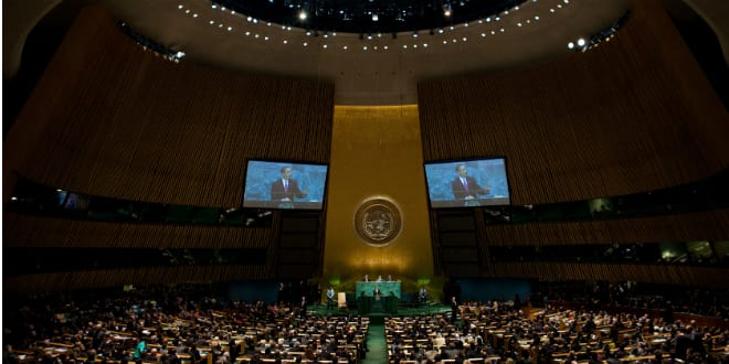 Barack Obama addresses the United Nations General Assembly (Photo White House-Samantha Appleton via Wikimedia)