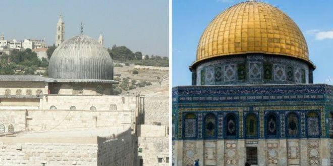 Al Aqsa Mosque (left) and the Dome of the Rock (right). (Photo: Breaking Israel News)