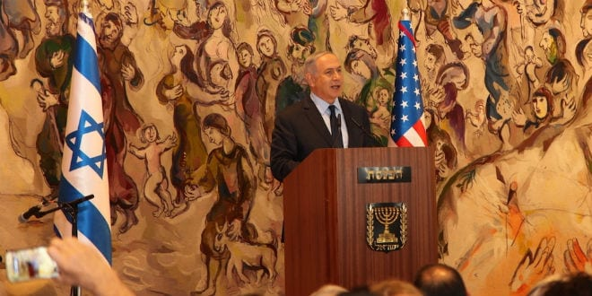 Prime Minister Benjamin Netanyahu addresses Wednesday's Knesset event honoring 100 years of American Jewry's contributions to the State of Israel. The event was organized by the Ruderman Family Foundation. (Daniel Gilboa)