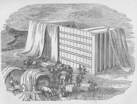 Setting up the Tabernacle. (1911 Illustrated History of the Bible by John Kitto)