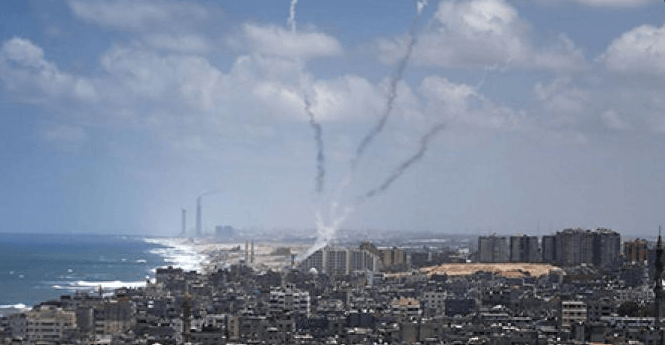 A rocket launched from Gaza hit the city of Sderot on August 21, 2016. (Twitter)