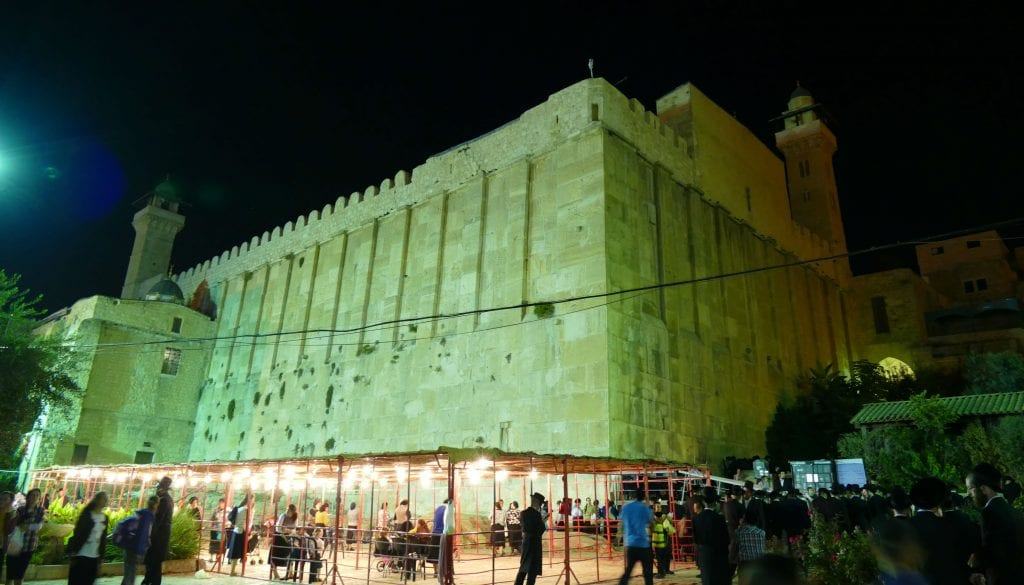 The lit-up Cave of the Patriarchs in Hebron. (Mordechai Persof/Midrasha L'ad Hamikdash)