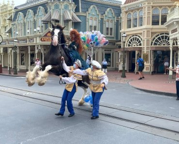 "PHOTOS, VIDEO: Merida's Horse Gets Startled During ""The Royal Princess Processional"" at the Magic Kingdom Reopening"