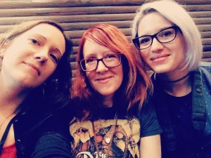 Charlotte Bond, Lucy Hounsom, Megan Leigh at FantasyCon 2018