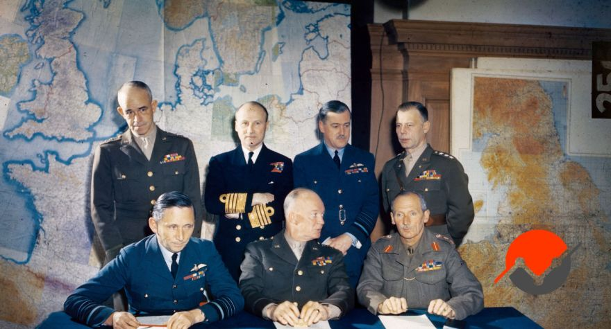 The leadership team of SHAEF from WWII, an image relevant to marketing strategy