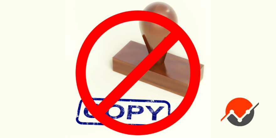 A crossed out rubber stamp, because the law of one price says copies are bad!