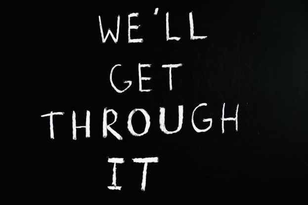we ll get through it lettering text on black background
