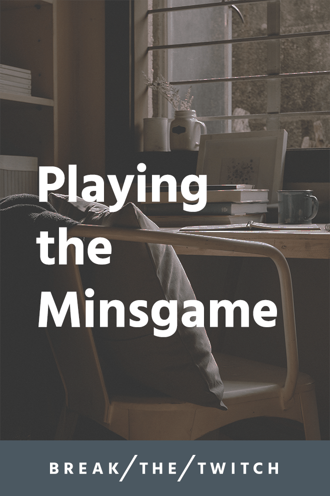 Playing the Minsgame // Minsgame is short for the 'Minimalist Game'. The idea of the game is to reduce your possessions over the course of a month by increasing each day. // breakthetwitch.com