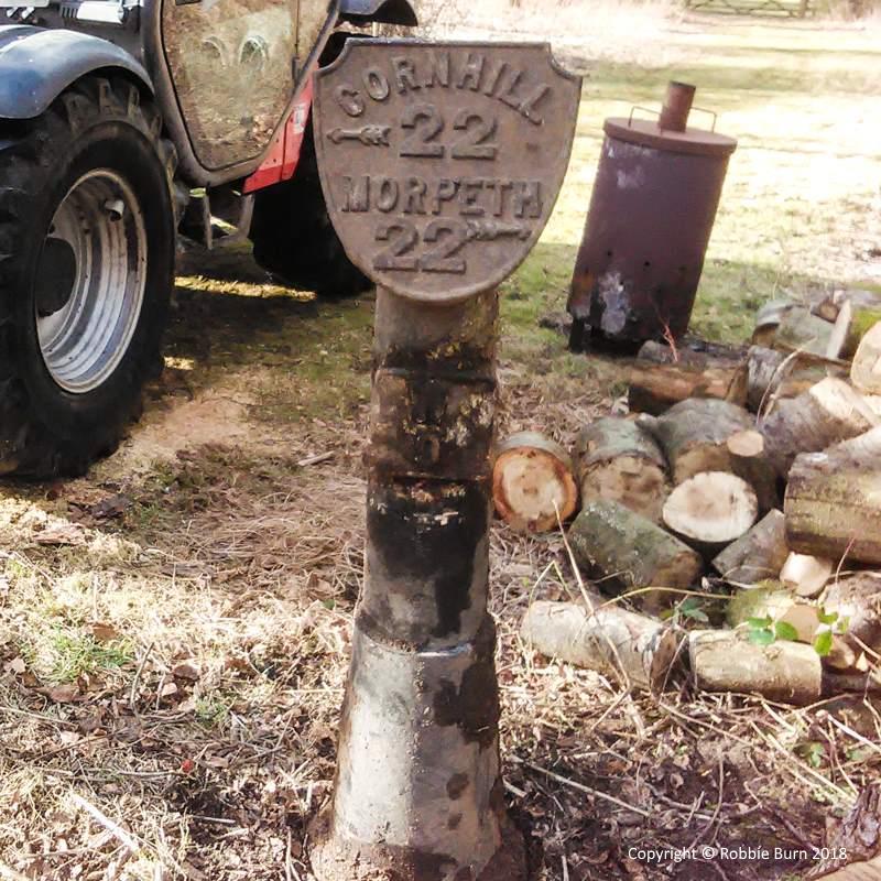 retreived road sign at Powburn c. Robbie Burn