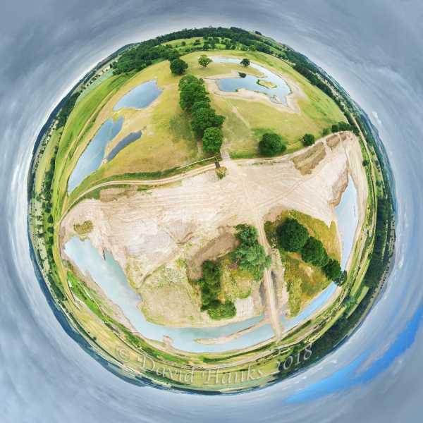 Hedgeley Lakes development Tiny Planet 50m 2000px c. David Hanks