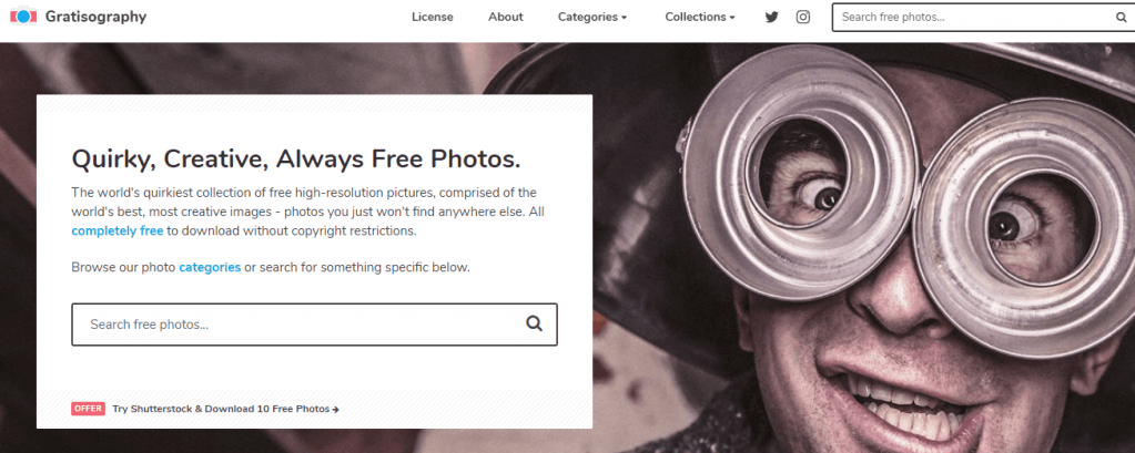 "Gratisography is arguably the most interesting free stock image website on the list, coining themselves as ""the world's quirkiest collection"" of images"